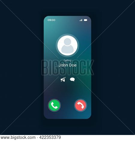 Incoming Call Smartphone Interface Vector Template. Mobile App Page Design Layout. Calls Management