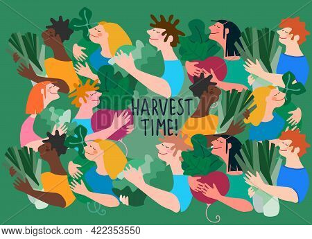 Happy Multiracial People Holding Giant Vegetables. Harvest Time Hand-lettered Quote. Vector Backgrou