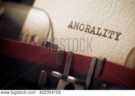 The word amorality written with a typewriter.