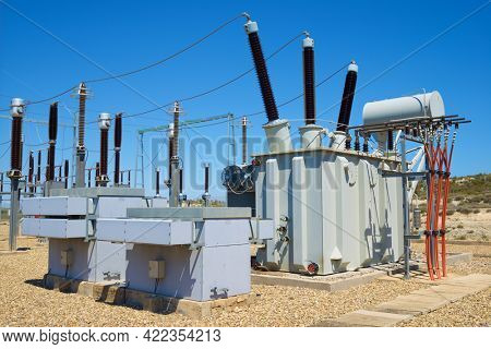 Closeup of an electrical substation, Zaragoza Province, Aragon in Spain.