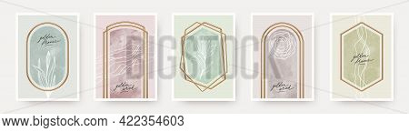 Set Of Abstract Modern Poster. Realistic Golden Frames And Arches With Watercolor And Botanical Hand