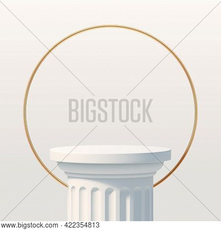 White Podium Like A Classic Column For Product Presentation. Podium Stage With Golden Ring. Minimal