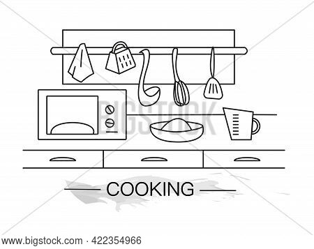 Lineart Vector Illustration Of Kitchen Table. Cookery Lineart. Baking At Home. Home Kitchen Design.