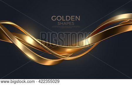 Abstract Background With Realistic Golden Metal Shape. Fluid Golden Wave. Intertwined Gold Shapes. V