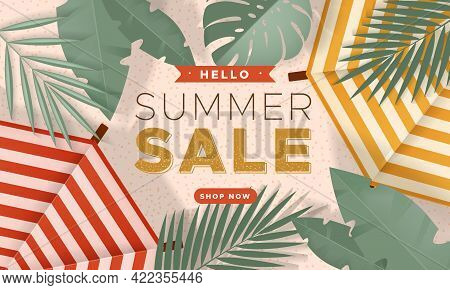 Sale Banner With Summer Beach, Two Parasols And Tropical Leaves