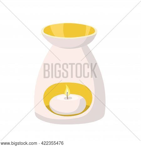 Aromatherapy. Aroma Lamp With Burning Candle Inside. Homeopathy Or Ayurveda Aromatic Therapy. Aroma