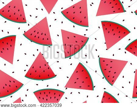 Watermelon Slices Seamless Pattern. Triangular Slices Of Watermelon With Seeds Isolated On White Bac