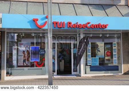 Hagen, Germany - September 16, 2020: Tui Reisecenter Travel Agency In Hagen, Germany. Tui Is A Germa