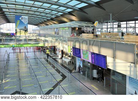 Dortmund, Germany - September 16, 2020: Interior View Of Dortmund Airport Terminal In Germany. Dortm