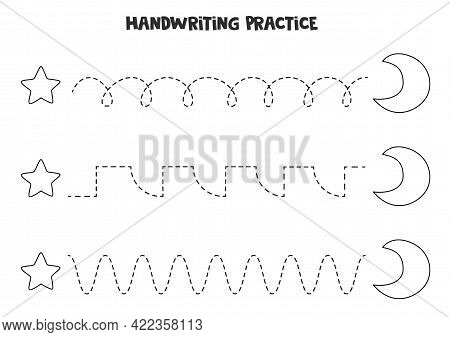 Tracing Lines For Kids With Cute Black And White Crescent And Star. Handwriting Practice For Childre