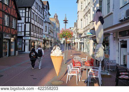 Recklinghausen, Germany - September 20, 2020: People Visit Kunibertistrasse In Downtown Recklinghaus