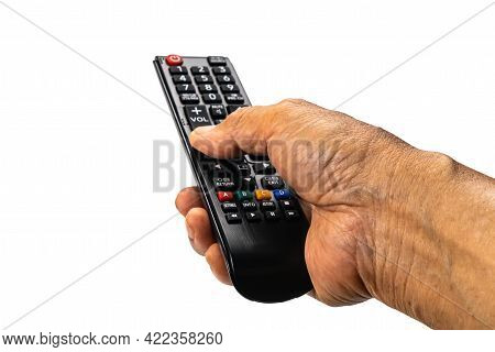 View Of Old Man Hand Press The Button On Television Remote Control To Select The Television Program