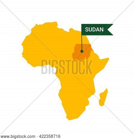 Sudan On An Africa S Map With Word Sudan On A Flag-shaped Marker.