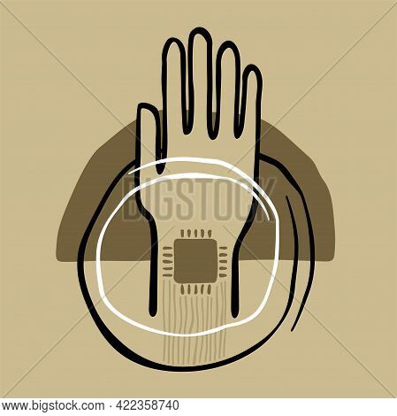 Chip Implanting Concept. Hand With Integrated Micro Cpu In Abstract Decoration. Vector Illustration