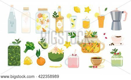 Healthy Drink Set. Vector Summer Beverage. Vegan, Vegetarian Drinks Collection Isolated On White. Yo