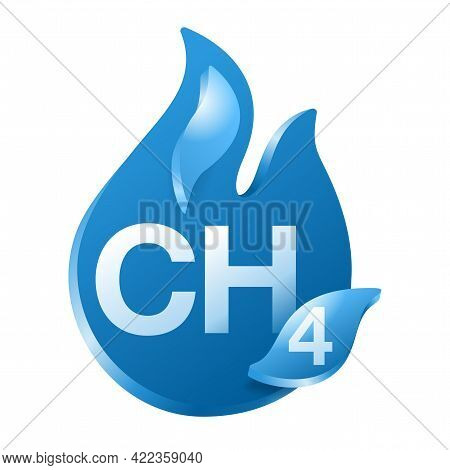 Methane 3d Icon - Chemical Compound With Formula Ch4, Carbon And Hydrogen. Main Component Of Fossil
