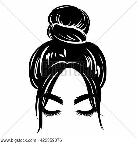 Messy Hair Bun, Vector Woman Silhouette. Beautiful Girl Drawing Illustration. Female Hairstyle.
