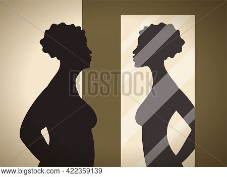 Wish To Loss Weight. Woman Looking At Mirror And See Her Reflection With Slim Figure. Vector Illustr