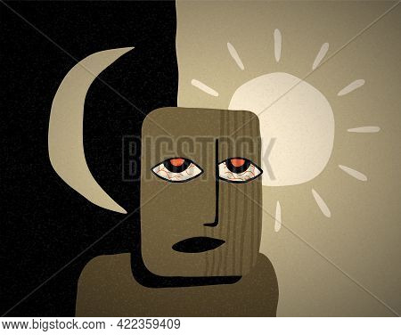Insomnia Concept - Sleeplessness Disorder In Which People Have Difficulty Falling Asleep. Abstract C