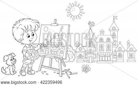Little Boy With His Cheerful Pup Drawing In Watercolors And Pencils A Pretty Small Town On A Sunny S