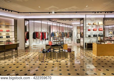 SINGAPORE - CIRCA JANUARY, 2020: interior shot of Burberry store in ION Orchard shopping mall in Singapore. Burberry is a British luxury fashion house.