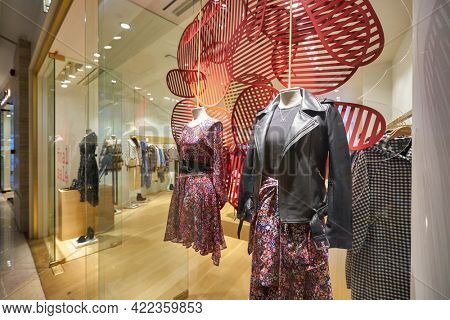 SINGAPORE - CIRCA JANUARY, 2020: Maje storefront in ION Orchard shopping mall in Singapore.