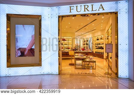 SINGAPORE - CIRCA JANUARY, 2020: Furla storefront in ION Orchard shopping mall in Singapore.