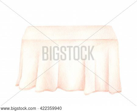 Watercolor Clothed Table Illustration. Hand Drawn Simple Wedding Table For Newlyweds With Elegant Pi