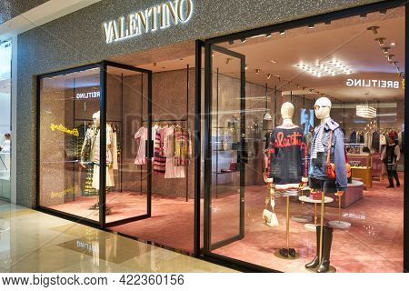 SINGAPORE - CIRCA JANUARY, 2020: Valentino storefront in ION Orchard shopping mall in Singapore.