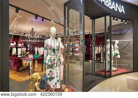 SINGAPORE - CIRCA JANUARY, 2020: dressed mannequin on display at Dolce and Gabbana store in ION Orchard shopping mall in Singapore.