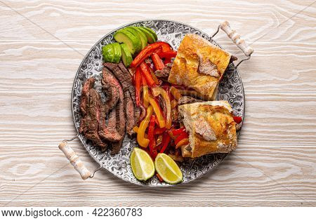Fajitas Sandwiches Made From Traditional Mexican Dish Beef Fajita And White Bread Served With Ripe A