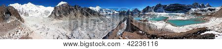 view from Cho Oyu base camp to gyazumba glacier and mount Cho Oyu - Everest trek - Nepal