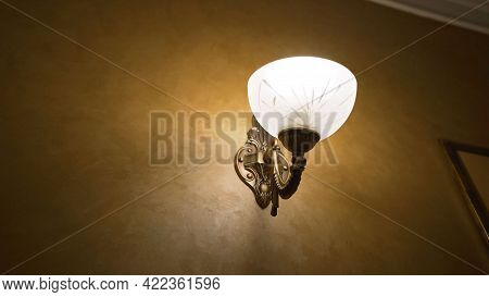 Elegant Vintage Lamp At Night With Copy Space. Mood Lamp. Lamp In The Interior At Night.