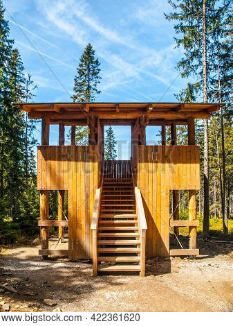New Wooden Wildlife Observation Post In The Forest