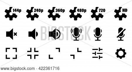 Video Media Music Player Icons Vector Set. Media Player Icons Set. Multimedia Music Audio Control. M