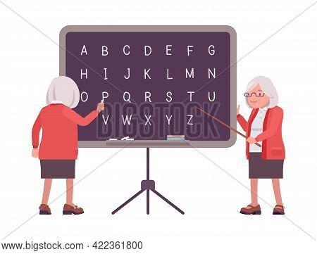Old Teacher, Female Senior Professor, University, School Tutor At Blackboard. Experienced Elderly Ma