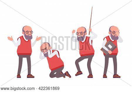 Old Teacher, Negative Emotions, Male Senior Professor, University School Tutor. Experienced Elderly