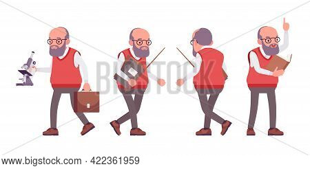 Old Teacher, Male Senior Professor, University, School, College Tutor. Experienced Elderly Master, A