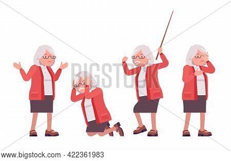 Old Teacher, Negative Emotions, Female Senior Professor, University School Tutor. Experienced Elderl
