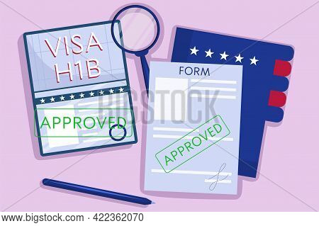 The Concept An Approved American Work Visa, H1b. Top View, Passport With Green Stamp, Pen, And A Fol