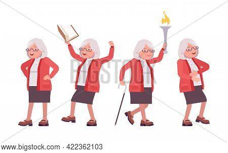 Old Teacher, Positive Emotions, Female Senior Professor, University School Tutor. Experienced Elderl