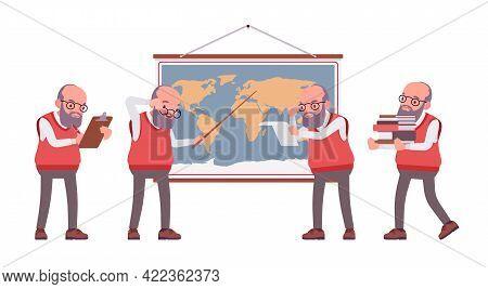 Old Teacher, Male Senior Professor, University, School Tutor At Map. Experienced Elderly Master, Age