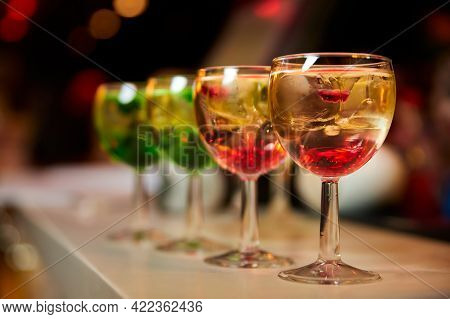 Multicolored Alcoholic And Non-alcoholic Cocktails With Ice.