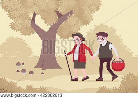 Active Seniors, Happy Healthy Elderly People Walking Mushroom Picking. Couple Of Older Adults Enjoyi