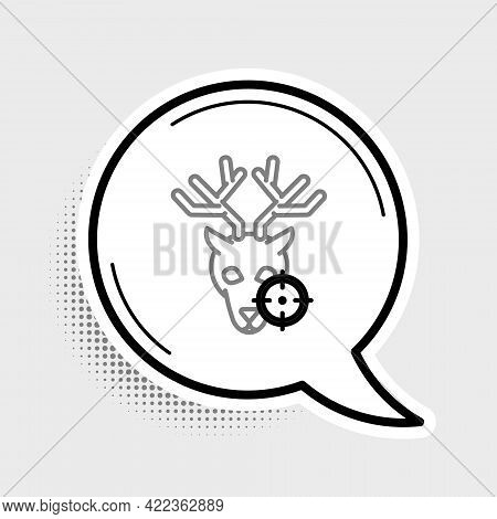 Line Hunt On Deer With Crosshairs Icon Isolated On Grey Background. Hunting Club Logo With Deer And