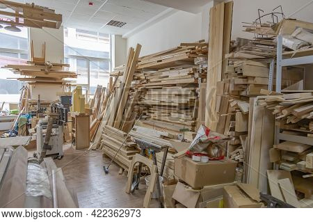 Inside An Empty Workshop Of A Small Carpentry Factory