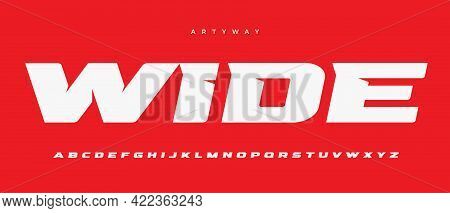 Wide Alphabet Letter Font. Sport Logo Typography. Extended Bold Vector Typographic Design. Sharp Ang
