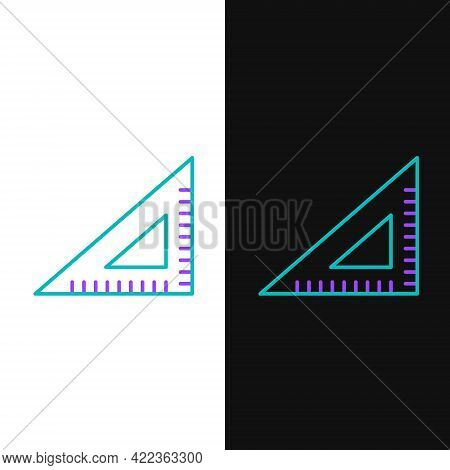 Line Triangular Ruler Icon Isolated On White And Black Background. Straightedge Symbol. Geometric Sy