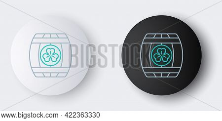 Line Wooden Barrel With Four Leaf Clover Icon Isolated On Grey Background. Alcohol Barrel, Wooden Ke