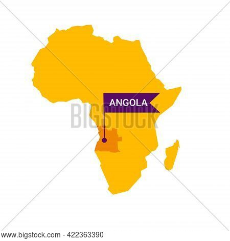 Angola On An Africa S Map With Word Angola On A Flag-shaped Marker.